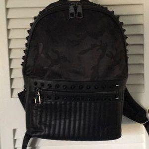 Handbags - Super Badass Black Backpack Camouflage Studded